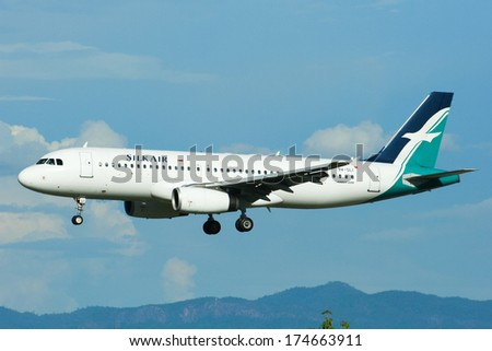 CHIANGMAI /  THAILAND - May 17 2009: 9V-SLI Airbus A320-200 of  Silkair, Landing to Chiangmai airport from Singapore.