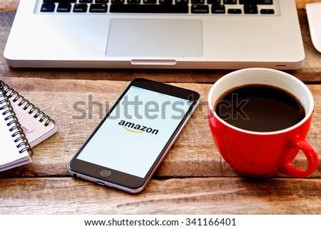 CHIANGMAI, THAILAND - NOV 19 2015:Amazon application on Apple iPhone 6 display. Amazon is an American international electronic commerce company  - stock photo