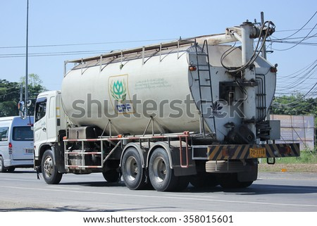 CHIANGMAI, THAILAND -NOVEMBER 5 2015:    Animal food Tank Truck of KYD Transport. Photo at road no.1001 about 8 km from city center, thailand.