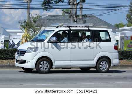CHIANGMAI, THAILAND -NOVEMBER 6 2015:   Private car, Mini Van of Suzuki APV. Photo at road no 121 about 8 km from downtown Chiangmai, thailand. - stock photo