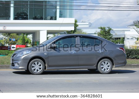 CHIANGMAI, THAILAND -NOVEMBER 14 2015:  Private Eco car, Nissan Almera. Photo at road no 121 about 8 km from downtown Chiangmai, thailand.