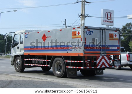 CHIANGMAI, THAILAND -NOVEMBER 20 2015:   Ptt NGV Gas truck. Photo at road no 1001 about 8 km from downtown Chiangmai, thailand.