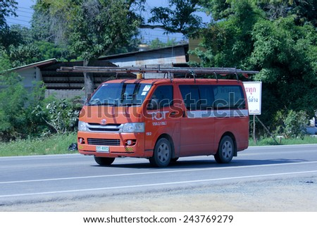 CHIANGMAI, THAILAND - NOVEMBER 11 2014:  Van of Tot company. Intenet and Telephone Service in Thailand. Photo at road no 121 about 8 km from downtown Chiangmai, thailand. - stock photo