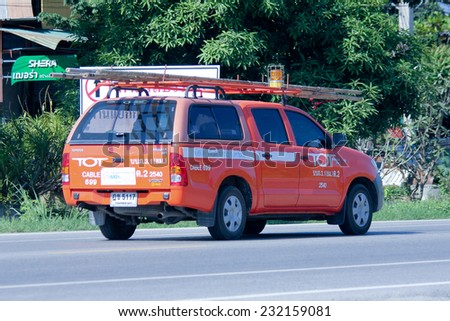 CHIANGMAI , THAILAND - OCTOBER 13 2014: Mini truck of Tot company.Intenet and Telephone Service in Thailand.  Photo at road no 121 about 8 km from downtown Chiangmai, thailand. - stock photo