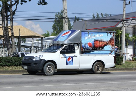 CHIANGMAI, THAILAND - OCTOBER 4 2014: Pepsi Cola Mini Truck . Photo at road no 121 about 8 km from downtown Chiangmai, thailand.