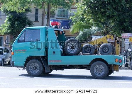 CHIANGMAI, THAILAND -OCTOBER 25 2014: SayThong Tow truck for emergency car move. Photo at road no 121 about 8 km from downtown Chiangmai, thailand.