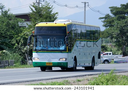 CHIANGMAI, THAILAND - OCTOBER 31 2014:   Travel bus of New Chiangmai Travel Company. Photo at road no 121 about 8 km from downtown Chiangmai, thailand.