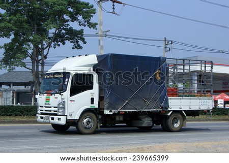 CHIANGMAI, THAILAND - OCTOBER 16  2014:  Truck of RPM Farm and Feed for Egg Transport. Photo at road no.121 about 8 km from downtown Chiangmai, thailand.