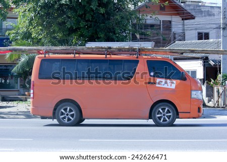 CHIANGMAI, THAILAND - OCTOBER 30 2014: Van truck of CAT Telecom Public Company Limited. Intenet and Telephone Service in Thailand. Photo at road no 121 about 8 km from downtown Chiangmai, thailand. - stock photo