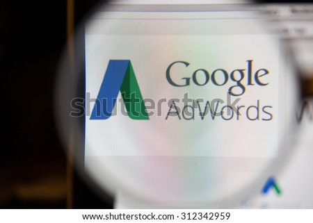 CHIANGMAI, THAILAND - September 1, 2015:Google AdWords is an online advertising service that enables advertisers to compete to display brief advertising copy to web users, based on keywords. - stock photo