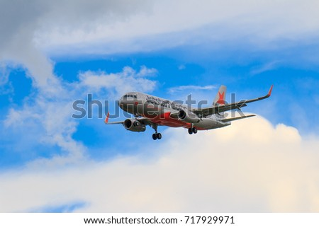 Jetstar pacific airlines stock images royalty free images chiangmai thailand september 2017 jetstar pacific airlines airplane landing at chiangmai international airport in afternoon sciox Images