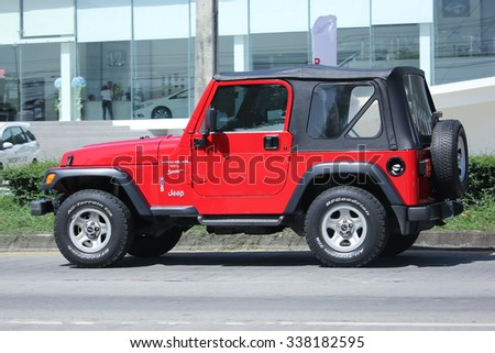 CHIANGMAI, THAILAND -SEPTEMBER  22 2015:  Private jeep car, Wrangler Sport. Photo at road no.121 about 8 km from downtown Chiangmai, thailand.