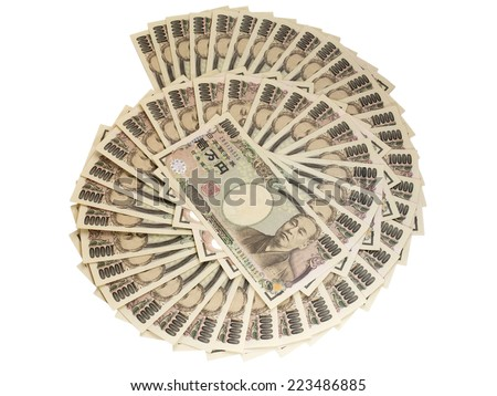 CHIANGRAI, THAILAND - OCTOBER 8: Japanese ten thousand yen bank note isolated on white background, taken on October 8, 2014 in Chiangrai, Thailand. - stock photo