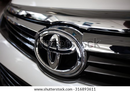 CHIANGRAI, THAILAND - SEPTEMBER 15, 2015 : Logo of Toyota car on display at Chiang Mai Showroom.