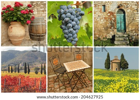 Chianti collage, collection of images from Tuscany - stock photo