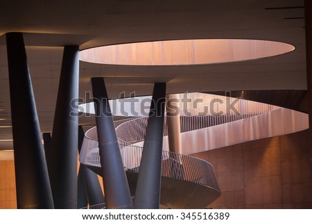 Chianti Region, Italy-May 31, 2015. Abstract Modern Architecture with construction of exposed metal with rust of the Antinori Chianti Classico Winery