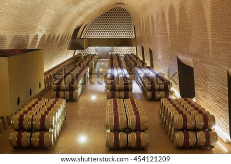 Chianti Region, Italy-May 31, 2015. Interior views of one of the barrel rooms of the Antinori Winery in the Chianti region of Italy - stock photo