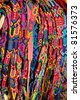 Chiapas Mexico handcrafts colorful belts and bracelets - stock photo