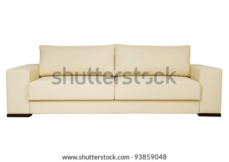 chic leather sofa beige color on a white background - stock photo