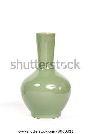 chic modern green vase - stock photo