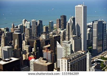 Chicago Aerial Photo. Downtown Chicago From Air. Illinois Photo Collection.