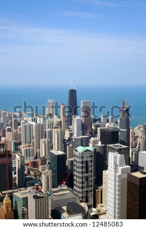 Chicago aerial view - stock photo