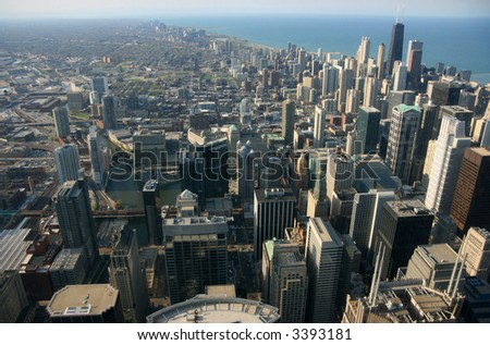 Chicago aerial view from Sears tower looking north