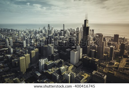 Chicago aerial view with downtown skyscrapers, vintage colors - stock photo