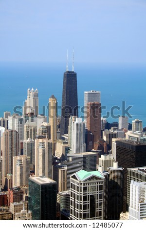 Chicago aerial view with the John Hancock Tower at center. - stock photo