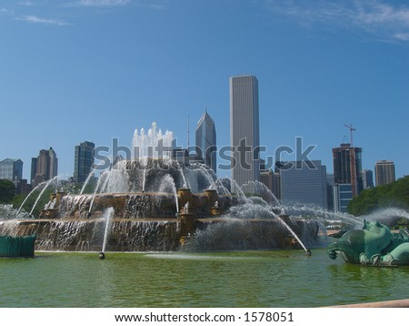 chicago and fountain - stock photo