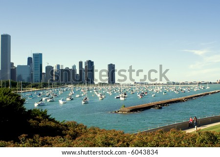 Chicago and Navy Pier - stock photo