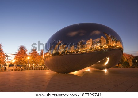 CHICAGO - April 17. Millennium Park, Chicago on April 17, 2014. Cloud Gate, also known as the Bean is one of the parks major attractions from 6am - 11pm daily. Admission is free