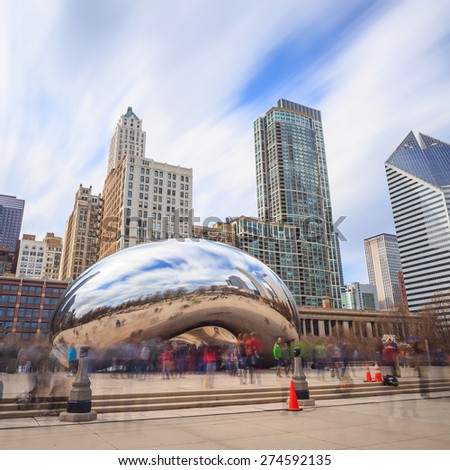 CHICAGO - April 10 : Millennium Park, Chicago on April 10, 2015. Cloud Gate, also known as the Bean is one of the parks major attractions. Admission is free.