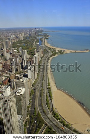 CHICAGO - APRIL 24: View of Chicago's Lake Shore Drive. The road was built in 1937 and is 25.48 km long. Chicago, Illinois April 24 2012. - stock photo