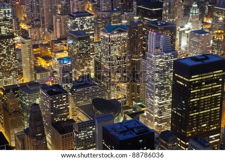 Chicago Architecture. Close up image of Chicago downtown buildings at night. - stock photo