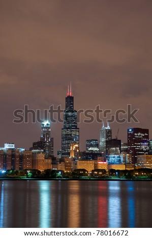 Chicago at night - stock photo