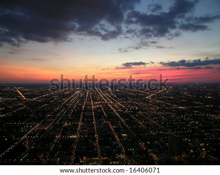 Chicago at Night, Aerial view - stock photo