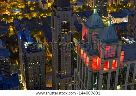 Chicago at Night From Eye Bird View. Beautiful Night Scenery. American Cities Photo Collection. - stock photo