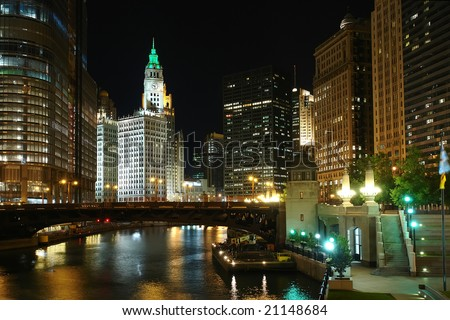 Chicago at night, IL, USA - stock photo