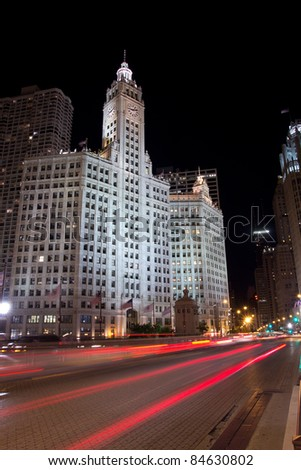 CHICAGO - AUG 26: The Wrigley Building on August 26, 2011 in Chicago. The building has two towers, South Tower (built in 1921 with 30 stories) and a North Tower (built in 1924 with 21 stories). - stock photo