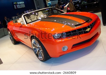 Chicago Auto Show camaro convertable - stock photo