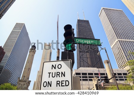 Chicago Avenue, Water Tower and John Hancock Building - stock photo
