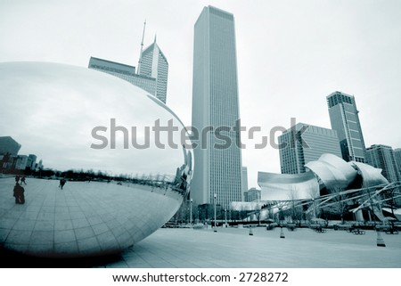Chicago Bean in Millennium Park on a cloudy day - stock photo