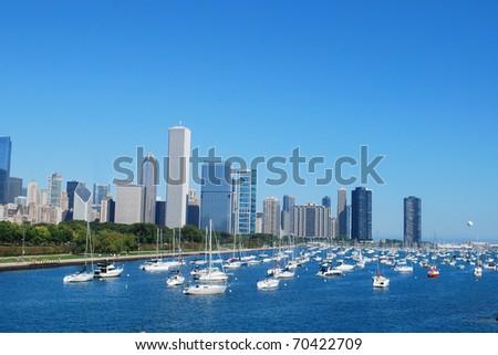 Chicago beside lake Michigan - stock photo