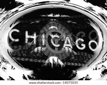 Chicago Black and White Collage - Cloud Gate - stock photo