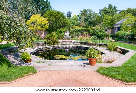 Chicago Botanic Garded, English Walled Garden area - stock photo