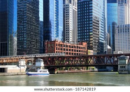 Chicago bridge and rail - stock photo