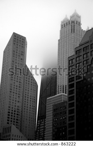 chicago buildings in fog - stock photo