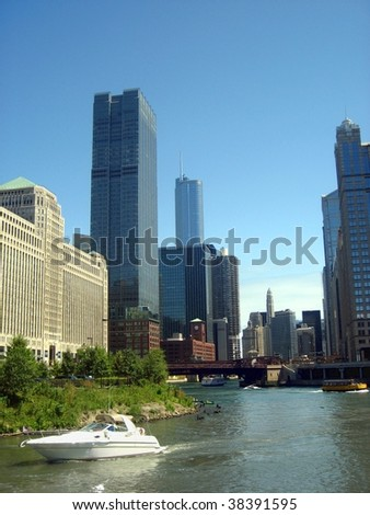 Chicago buildings view - stock photo