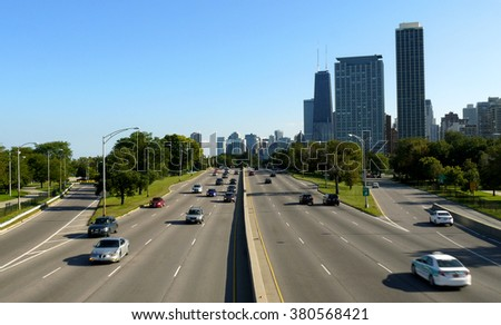 CHICAGO - CIRCA APRIL 2015, Chicago skyline on a highway - stock photo